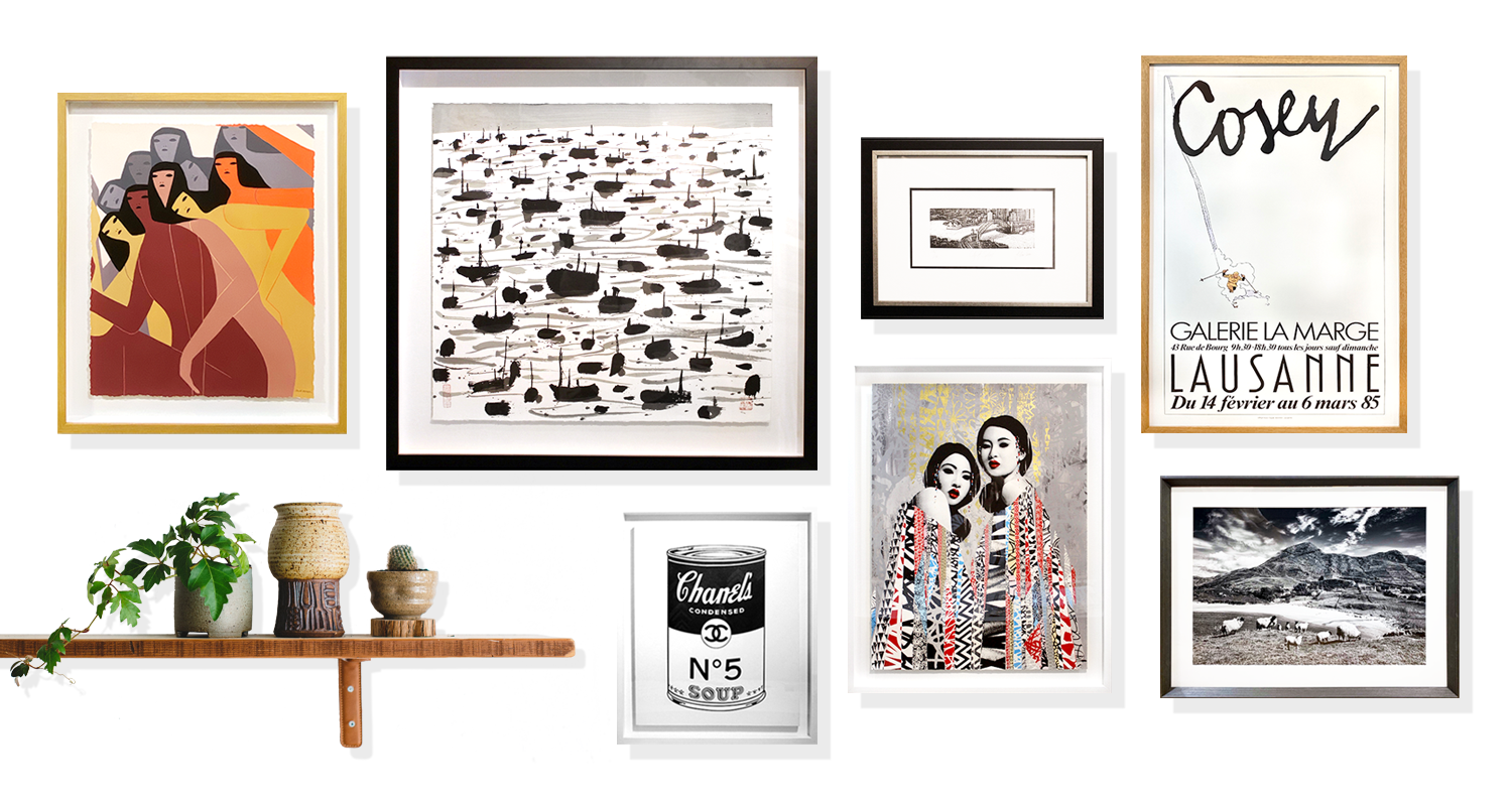 Collage wall with different variety frames