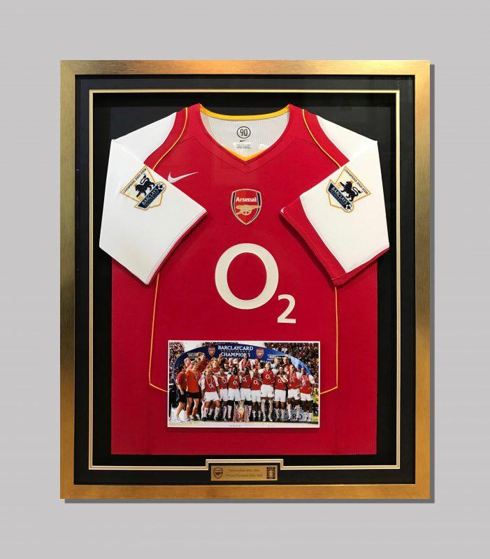 Arsenal Jersey Shadow Box Framing Black Matboard Gold Trim Gold Frame Mounted Photos Engraved Plate