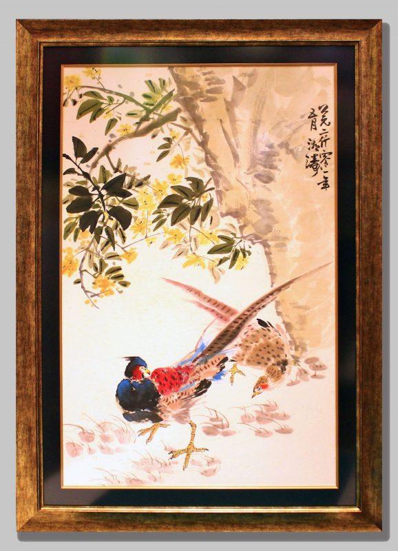 Chinese Tree Birds Pheasants Rice Paper Art Black Silk Border Gold Bronze Frame