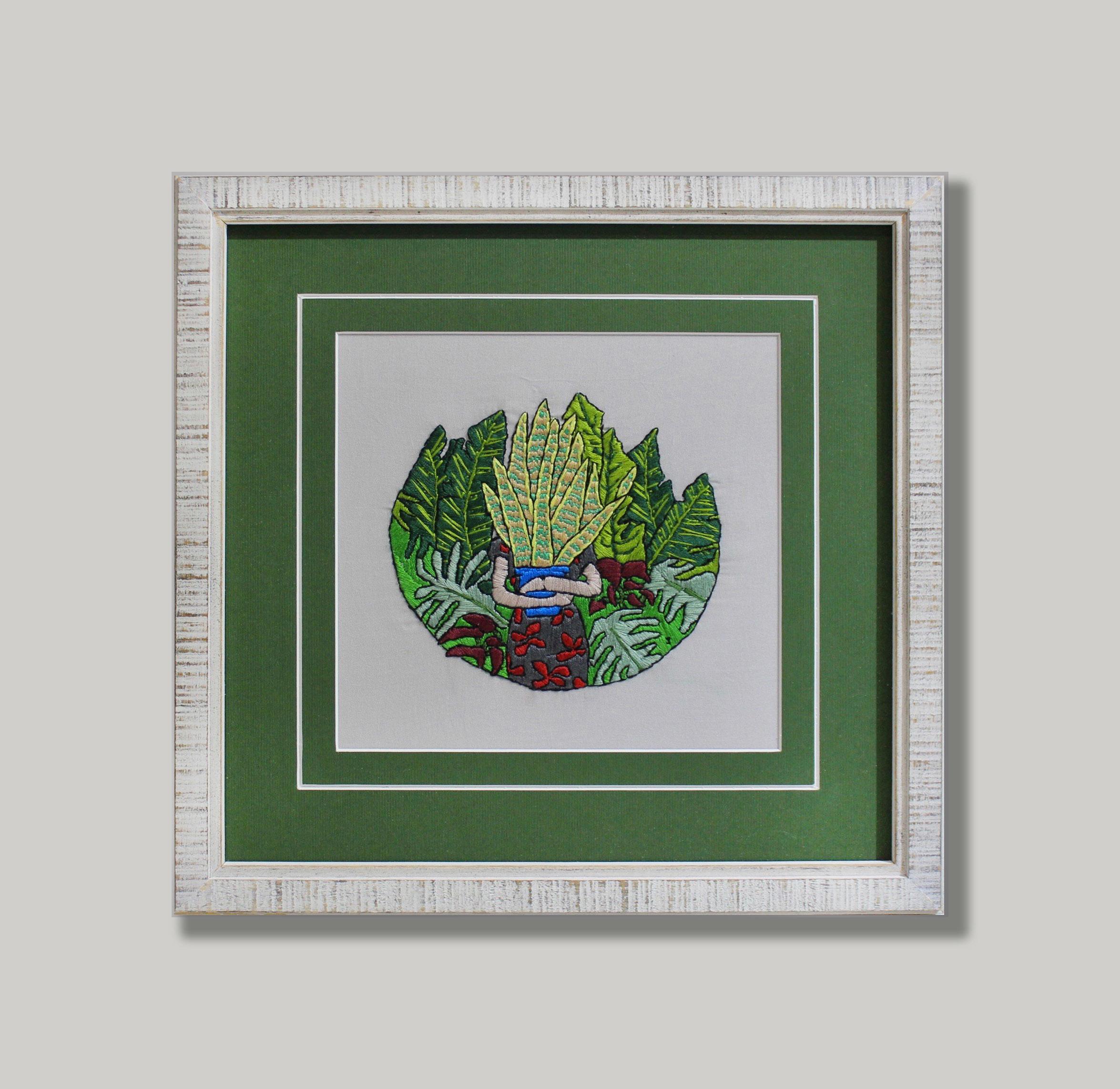 Plant Cross-Stitch Framing Green Matboard Border White Rustic Frame