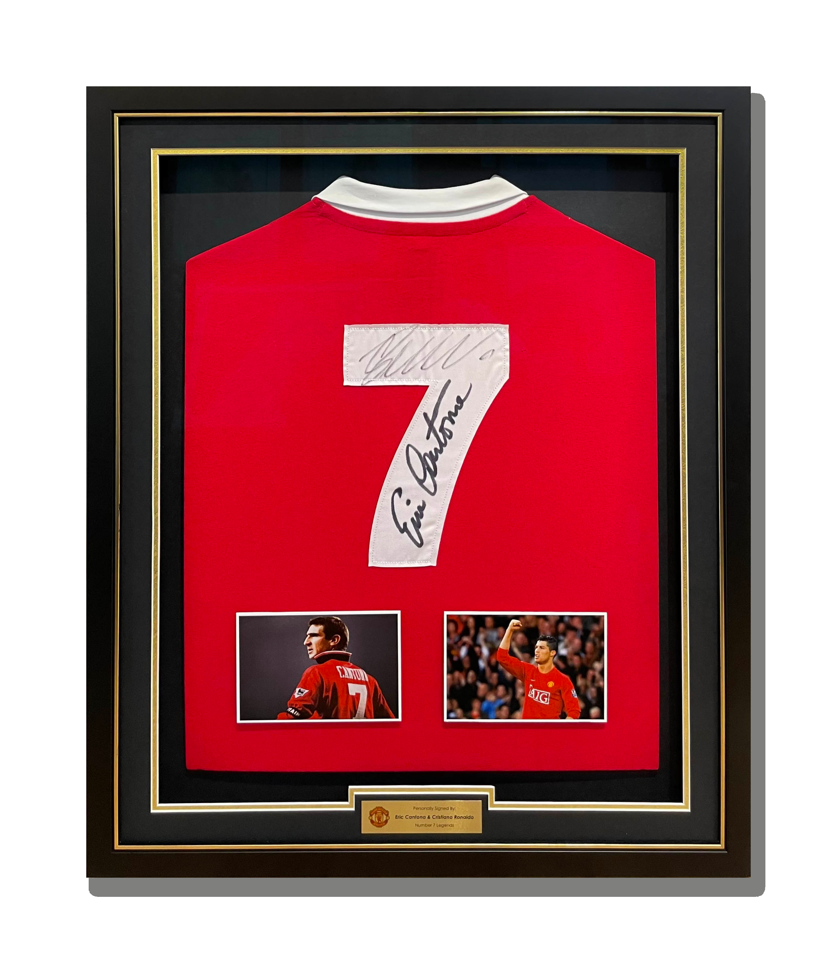 Eric Cantona Manchester United Signed Jersey Shadow Box Framing Black Matboard Gold Trim Matte Black Frame Mounted Photos Engraved Plate