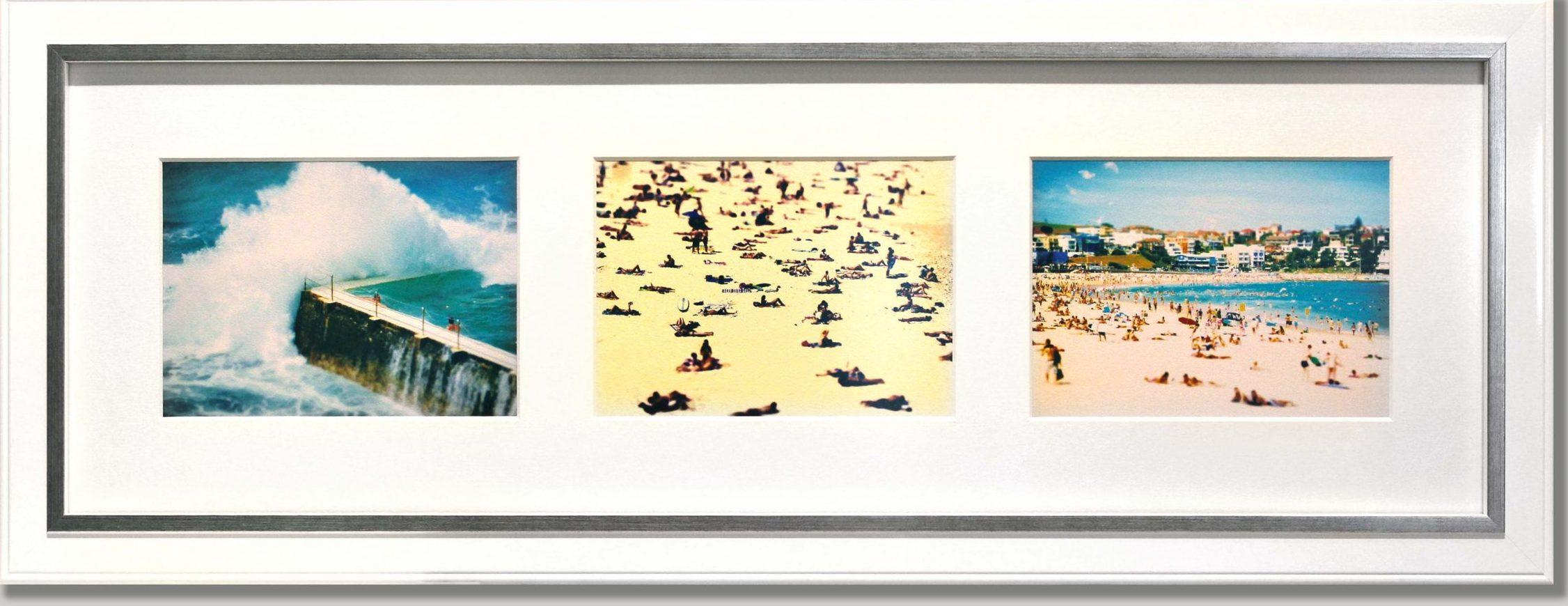 Beach Photo Collage White Matboard Border Multiple Openings Gloss White Frame