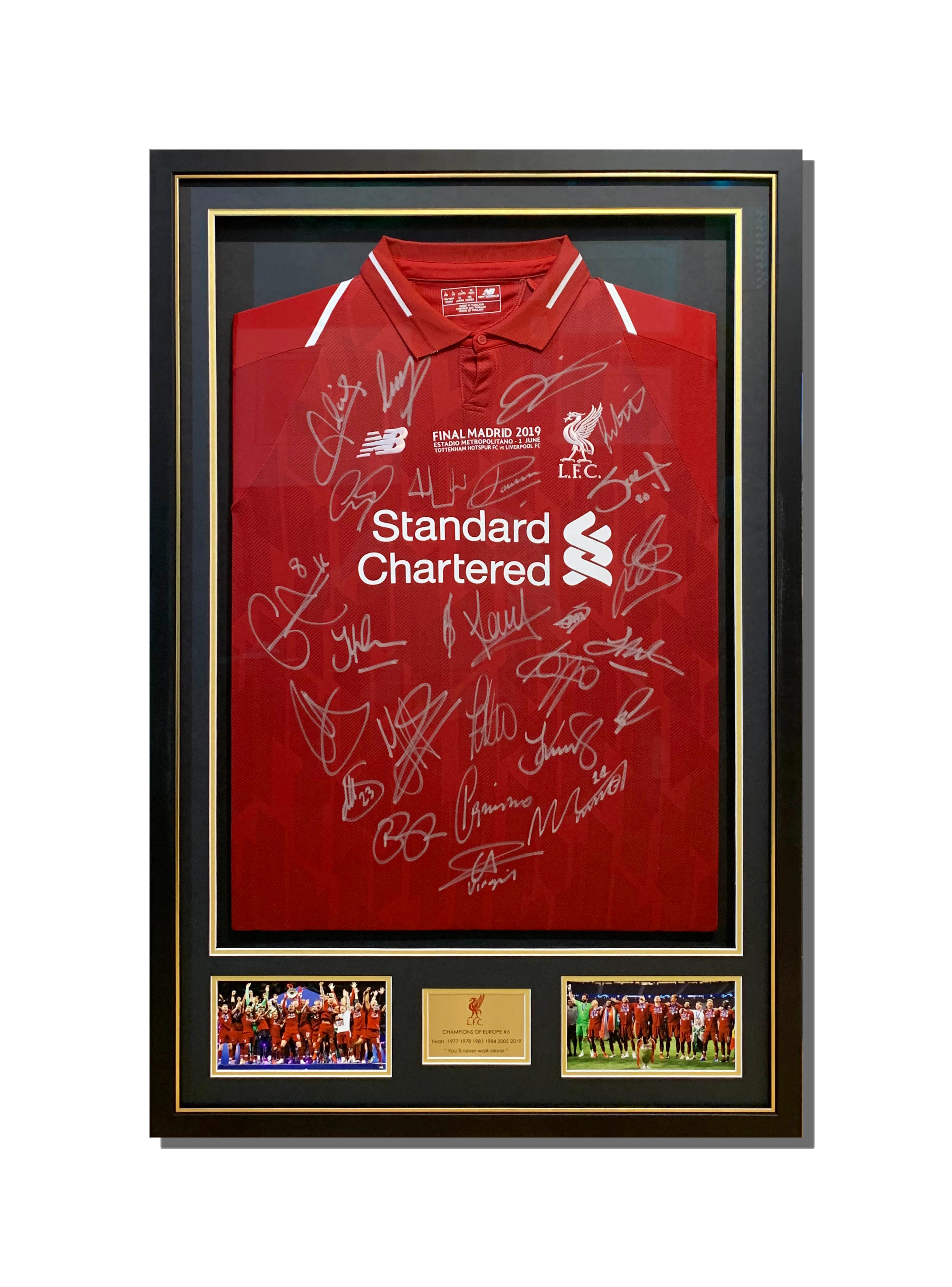 Liverpool Signed Jersey Shadow Box Framing Black Matboard Multiple Window Openings Gold Trim Matte Black Frame Mounted Photos Engraved Plate