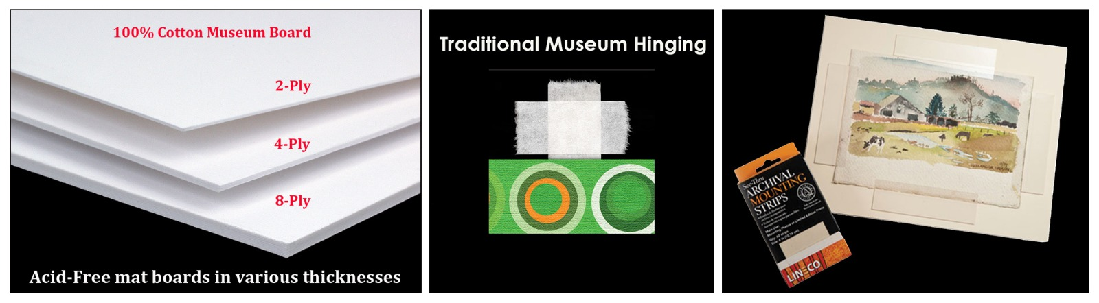 Acid-free Museum Matboard Traditional Museum Hinging Archival Mounting Strips